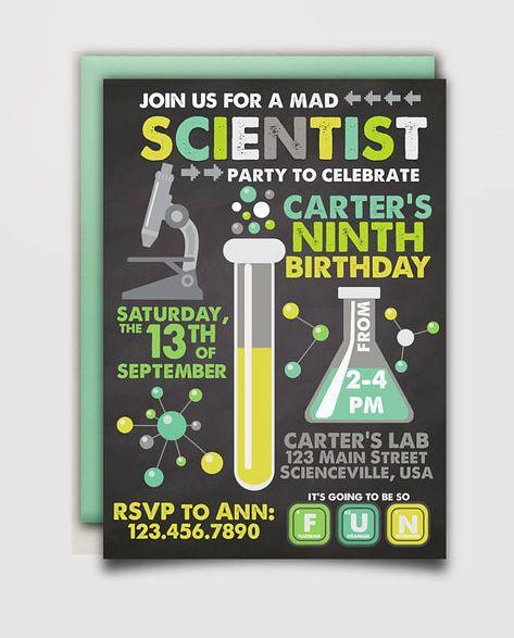 mad scientist birthday invitation boys party 2018 pinterest