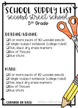 School Supply List Editable Classroom Supplies List School