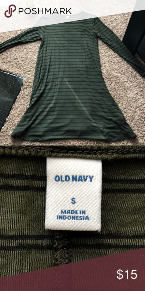 🌷OLD NAVY swing dress Super comfortable green striped swing dress. Looks best when belted. Worn once. Old Navy Dresses
