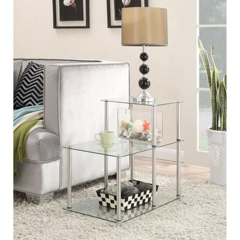 Convenience Concepts 3 Tiered Glass Step End Table End Tables Glass End Tables Modern End Tables