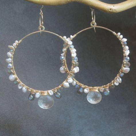 22kt Gold Plated Swiss Blue Titanium Druzy Crescent Hoop Earrings  Gemstone Bohemian Earrings  Crescent Moon Hoop Earrings  Gift Idea