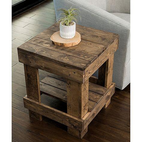 Pallet End Tables, Rustic End Tables, Diy End Tables, Wooden Pallet Projects, Diy Pallet Furniture, Rustic Furniture, Repurposed Wood Projects, Wooden Pallet Table, Reclaimed Wood Furniture