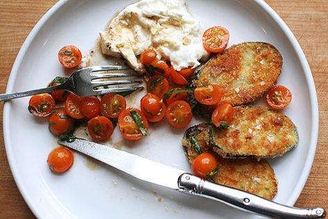 Fresh tomatoes, burrata, crispy eggplant #vegetarian