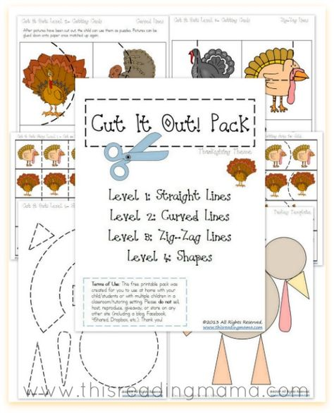FREE Cutting Practice Pack {Thanksgiving Cut it Out!} | This Reading Mama  - repinned by @PediaStaff – Please Visit  ht.ly/63sNt for all our ped therapy, school & special ed pins