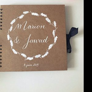 Guest book personalized Rustic and original wedding Guestbook kraft personalised calligraphy names and polka dot wreath