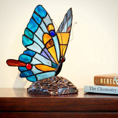 Delightful River Of Goods 15221 Tiffany Style Stained Glass Butterfly Table Lamp    15221