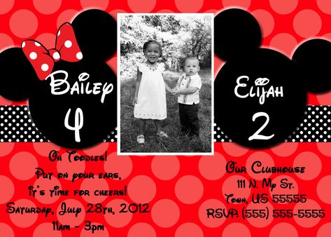 Custom Joint Mickey and Minnie Mouse Invitation OR Thank you card. $10.00, via Etsy.