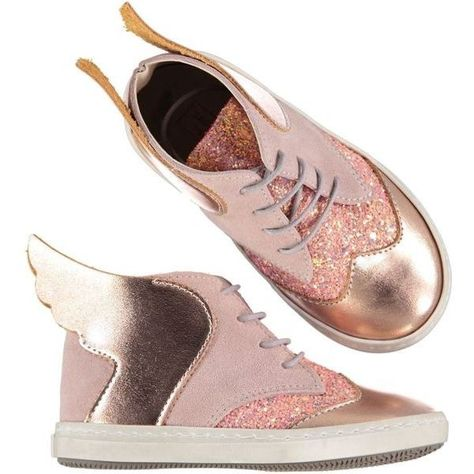 deec63e39bcb Wings And Glitter Lace Up Boots Rose Gold Dusty Pink ($89) ❤ liked on  Polyvore featuring shoes, laced shoes, summer footwear, rose gold glitter  shoes, ...