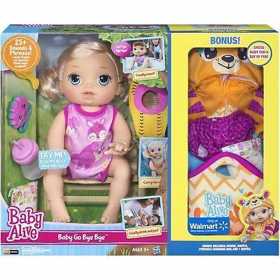 New Baby Alive Baby Go Bye Bye Blonde Doll Girls Bonus Clothes Walmart Exclusive Baby Alive Dolls Baby Alive Doll Clothes Baby Alive