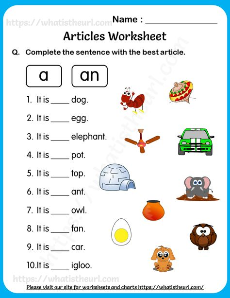 Articles Worksheet for Grade 2 – Choose the Best One from A or An - Your Home Teacher