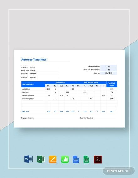 Attorney Timesheet Template Pdf Word Doc Excel Apple Mac Pages Google Docs Google Sheets Apple Mac Numbers Timesheet Template Word Doc Templates
