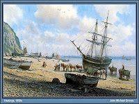 A Collier-Brig discharging on Hasting's beach, 1850 - John Michael Groves