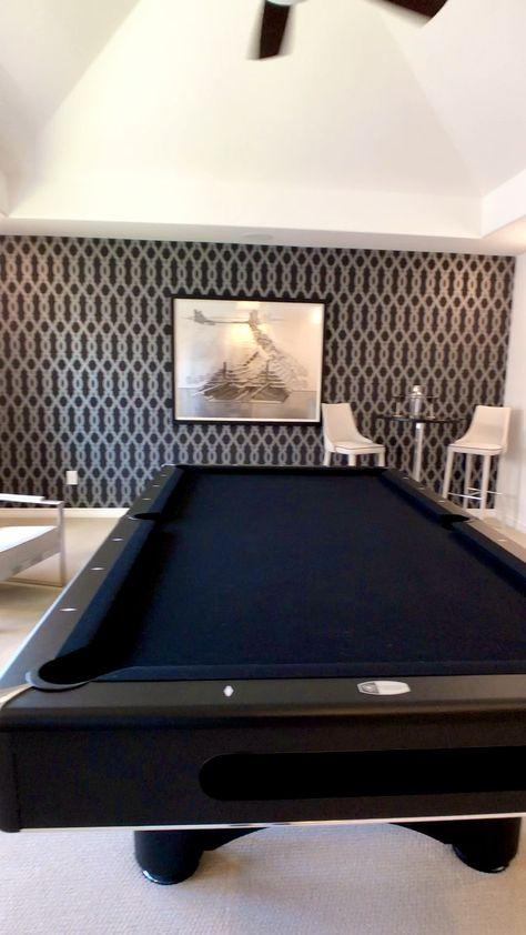Gameroom with Wallpaper & Media Room design