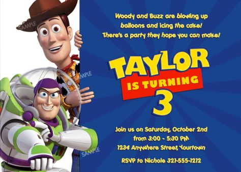 Toy Story Birthday Party Invitation Woody And Buzz Printable