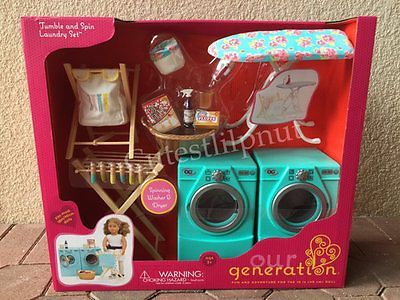"""18/"""" Doll LAUNDRY ROOM SET Washer+Dryer+Ironing for American Girl Our Generation"""