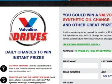 Valvoline Drives Instant Win Game Instant Win Games Instant Win Game Codes
