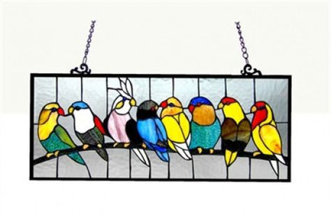 Tiffany Style Stained Cut Glass Window Panel Suncatcher Colorful Birds on Wire