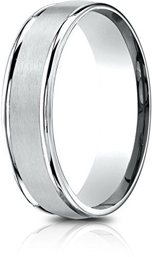 0ad6174e88ebf Banvari Benchmark 14k White Gold 6.5mm Comfort-Fit Satin Finish ...