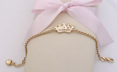 Baby Bracelets for Girls - Yellow Gold Tiara Engravable Baby Bracelet, Belcher Chain, 6