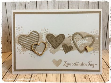 Stamping makes you happy: wedding card with the product set with greeting and kiss from the spring / summer catalog 2017.