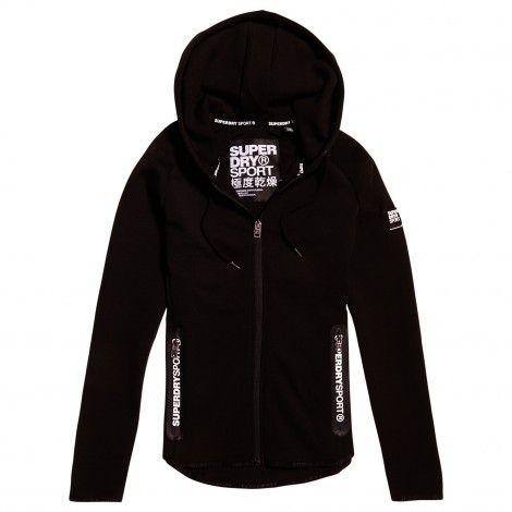 Superdry Sport Gym Tech Luxe Zip Hoodie vest dames black