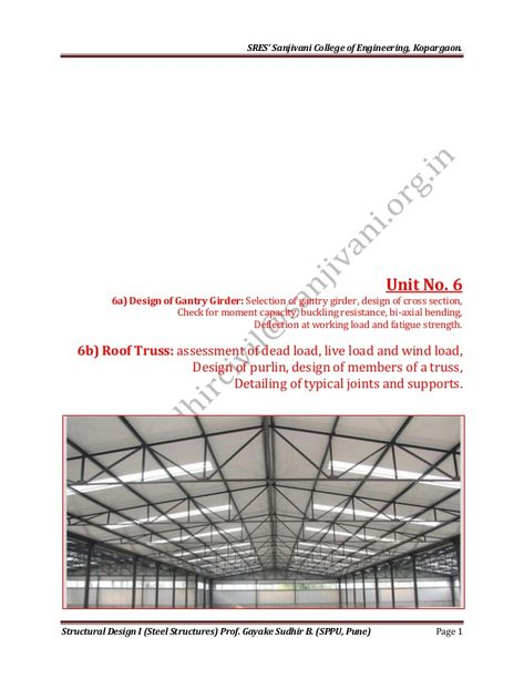 Design of industrial roof truss