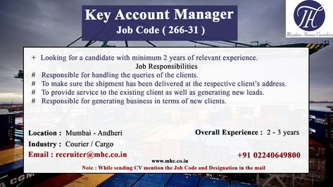 We are looking for an experienced candidate for the position of Key