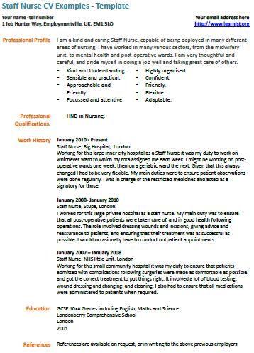 Cv Template Nhs Cv Examples Resume Examples Job Resume Samples