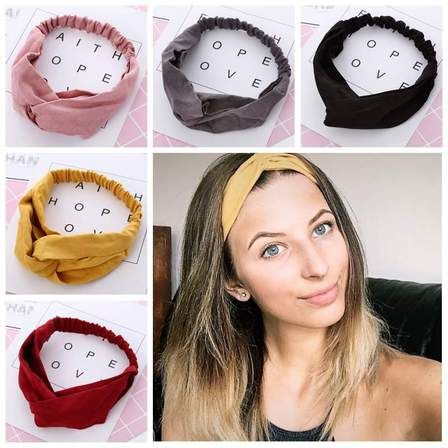 Headbands Vintage Elastic Head Wrap Hair Bands Stretchy Hairband Twisted Cross-Head Scarf Solid Color Wide-Brimmed Headbands for Women Hairbands Accessory