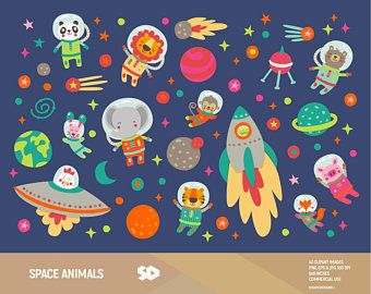 Woodland Tribal Animals Clipart Vol 2 Set Of 19 Vector Png Etsy In 2021 Space Animals Animal Clipart School Illustration
