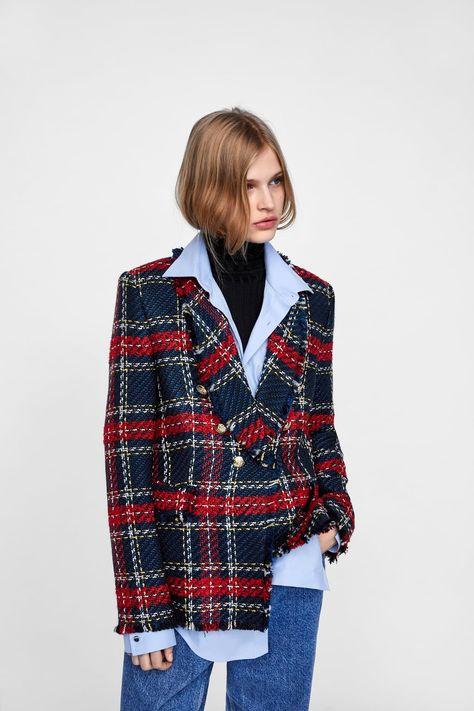 Veste zara rouge tweed