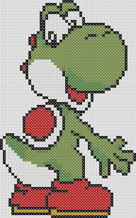 Super Mario Brothers Inspired  Yoshi looking at von StitchedPixels