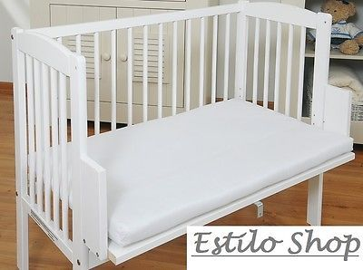 Baby Crib Bedside Cot Bed Free Mattress Wooden White Next To