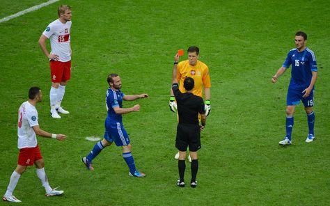 Oh, Szcz ... Referee Carlos Velasco Carballo Shows Wojciech Szczesny Of Poland A Red Card For Fouling Dimitris Salpigidis Of Greece
