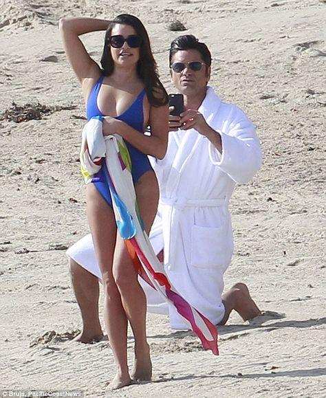 Malibu heat! Lea Michele and John Stamos enjoyed a steamy day on set of Scream Queens in Malibu on Tuesday