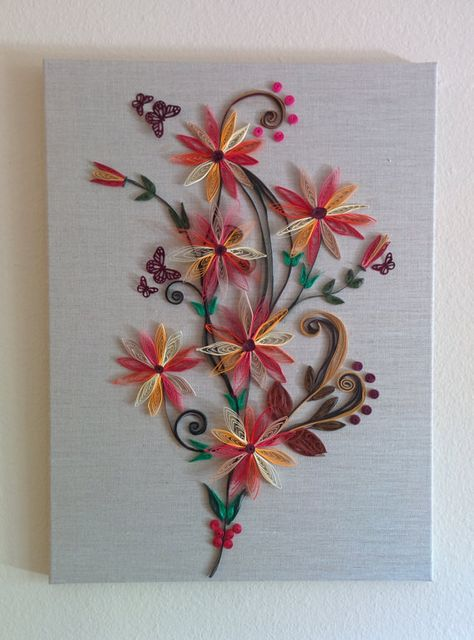 Paper Quilling on Jute Canvas by ZAcrafts1 on Etsy