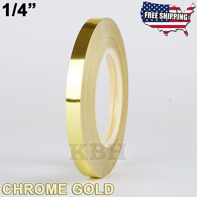 1 4 Roll Vinyl Pinstriping Pin Stripe Soild Line Tape Sticker 6mm Chrome Gold Chrome Gold Tape Vinyl