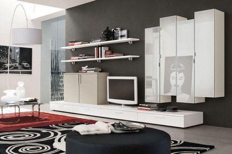 meuble mural salon offrant beaucoup d espace de rangement en 27 idees