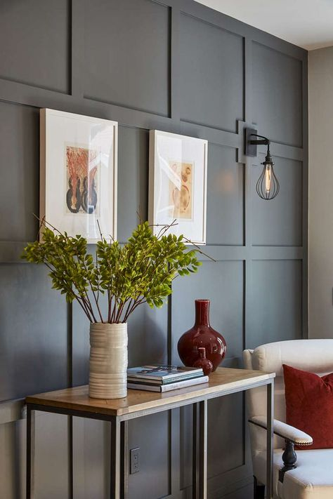 cool gray Paneled wall. Love this kind of architectural detailing.