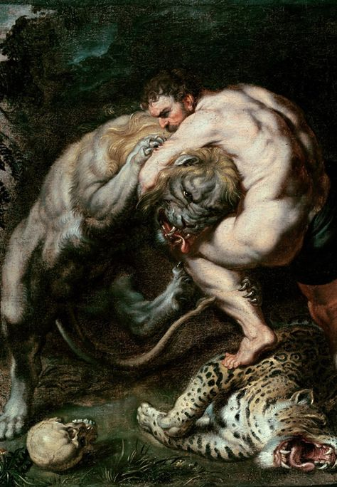 """Hercules Fighting the Nemean Lion, Peter Paul Rubens: Badass work.I only wish he had painted Hercules on the cat's back, sinking in a Rear-naked instead of a Guillotine.a true """"Mata Leao! Peter Paul Rubens, Nemean Lion, Renaissance Kunst, Greek And Roman Mythology, Classical Mythology, Baroque Art, Arte Horror, Classical Art, Fine Art"""