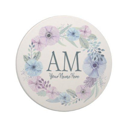 Personalized Floral Monogram Winter Blossoms Coaster Floral Monogram Monogram Coasters
