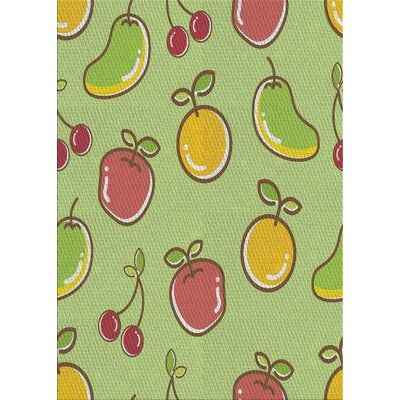 East Urban Home Patterned Green Yellow Pink Area Rug Rug Size