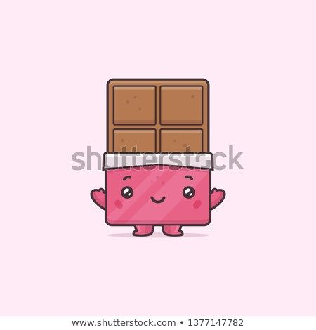 Cute Kawaii Chocolate Bar Mascot Character Vector Cartoon