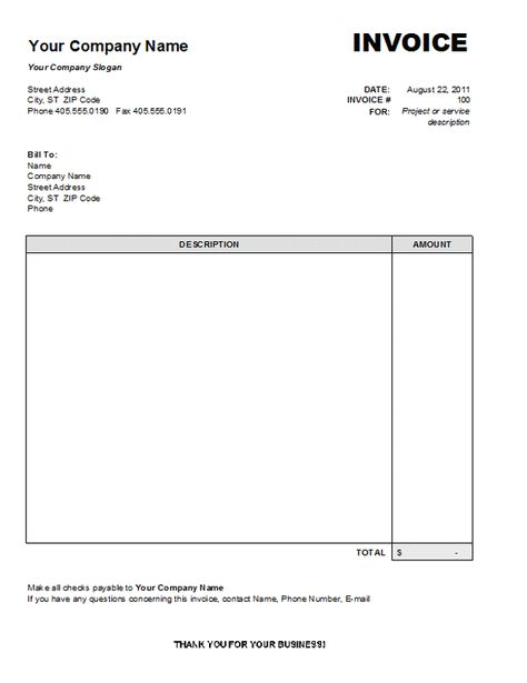 Blank Invoice Template Blankinvoice Org 2349090 - an image part of - cash slip template