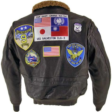 Cockpit Reproduction Top Gun Leather Flight Jacket faithfully reproduces the flight jacket as worn by Tom Cruise in the movie Top Gun.