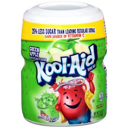 12 Pack Kool Aid Sugar Sweetened Green Apple Powdered Soft Drink 19 5 Oz Jar Apple Drinks Kool Aid Mixed Drinks