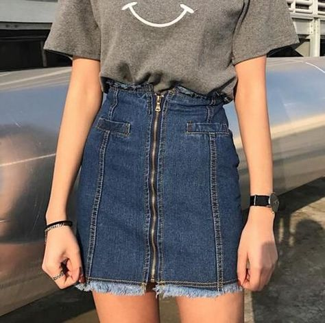 Women's Girls Denim High Waist Mini Skirts Fashion Short Jean A-Line Skirts