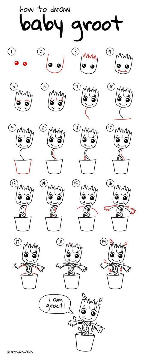 Photo of Wie zeichne Baby Groot. Einfaches Zeichnen, Schritt für Schritt, perfekt für Kinder! Zeichnen wir ..