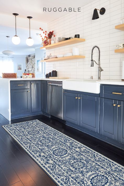 Protect your floors from spills and stains while adding a pop of color in your kitchen. Shop Ruggable's machine washable rugs! Kitchen Rug, Kitchen Layout, Kitchen Colors, Home Decor Kitchen, New Kitchen, Home Kitchens, Kitchen Cabinets, Kitchen Shop, Blue Cabinets