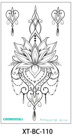 Mallana Boho Lotus Chandelier Jewelry Temporary Tattoo - www.MyBodiArt.com